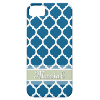Royal Blue & Light Mint Lattice Custom Name Barely There iPhone 5 Case