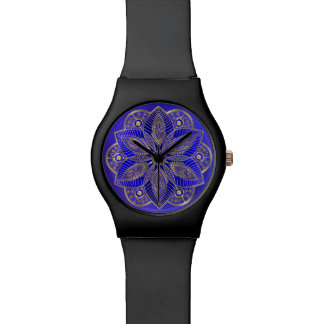 Royal Blue Mandala Lotus Flower Watch