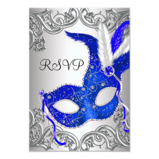 Royal Blue Mask Masquerade Party RSVP 9 Cm X 13 Cm Invitation Card