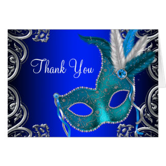 Royal Blue Masquerade Party Thank You Card