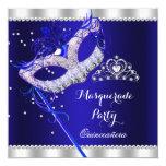 Royal Blue Masquerade Quinceanera Party Mask Gems 13 Cm X 13 Cm Square Invitation Card
