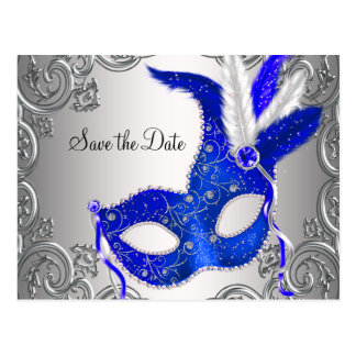 Royal Blue Masquerade Save The Date Postcard