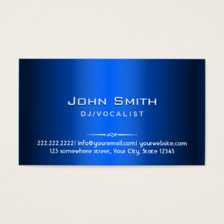 Royal Blue Metal DJ Music Business Card