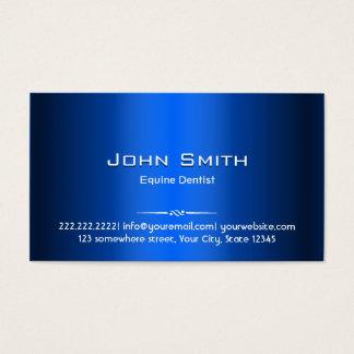 Royal Blue Metal Equine Dentist Business Card
