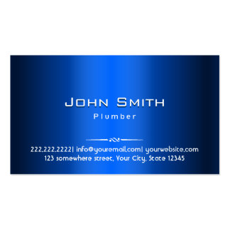 Royal Blue Metal Plumber Business Card