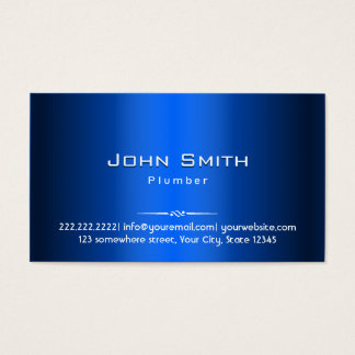 Royal Blue Metal Plumber Business Card