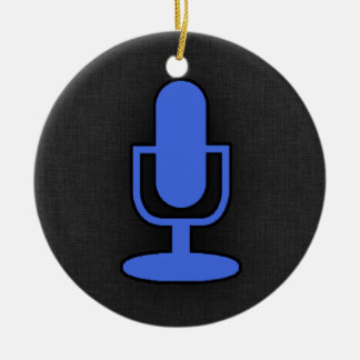 Royal Blue Microphone Ceramic Ornament