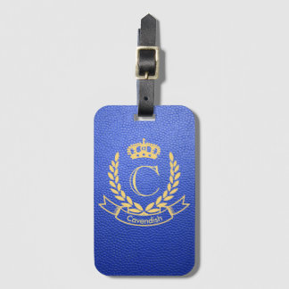 Royal Blue Mock Leather with Monogram Crest Luggage Tag
