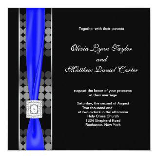 "Royal Blue Modern Dot Black White Wedding 5.25"" Square Invitation Card"