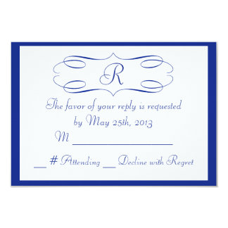 Royal Blue Monogram Wedding RSVP Card 9 Cm X 13 Cm Invitation Card