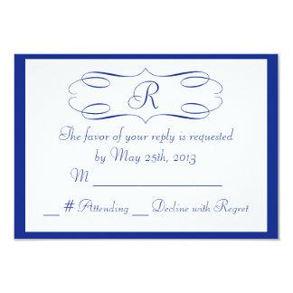 Royal Blue Monogram Wedding RSVP Card 9 Cm X 13 Cm Invitation Card