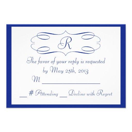 Royal Blue Monogram Wedding RSVP Card