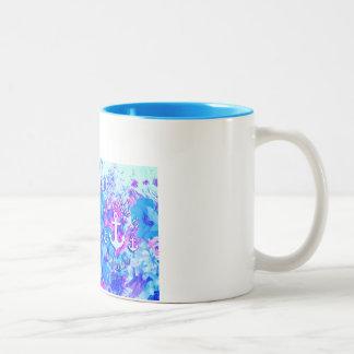 Royal Blue Nautical Poppies Art. Mugs