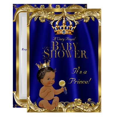 royal prince baby shower black gold ethnic card   zazzle, Baby shower invitations