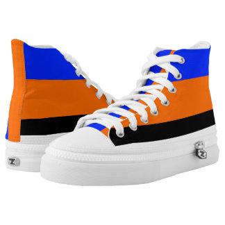 Royal Blue Orange Black and White Hi-Tops Printed Shoes