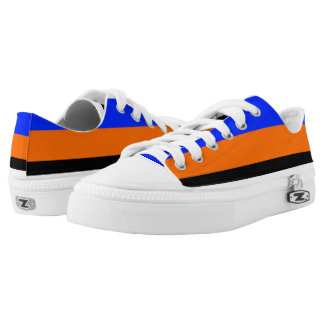 Royal Blue Orange Black and White Lo-Tops Printed Shoes