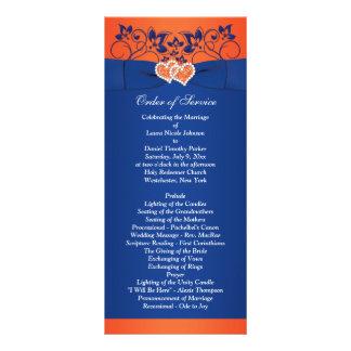 Royal Blue, Orange Floral, Hearts Wedding Program Rack Card