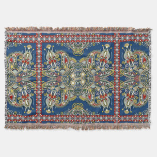 Royal Blue Oriental Design Throw Blanket