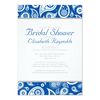 Royal Blue Paisley Bridal Shower Invitations