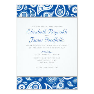 Royal Blue Paisley Wedding Invitations