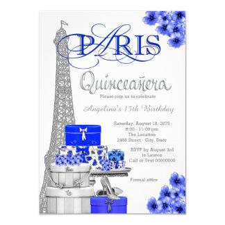 Royal Blue Paris Quinceanera Invitations