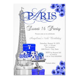 Royal Blue Paris Sweet 16 Party 11 Cm X 16 Cm Invitation Card