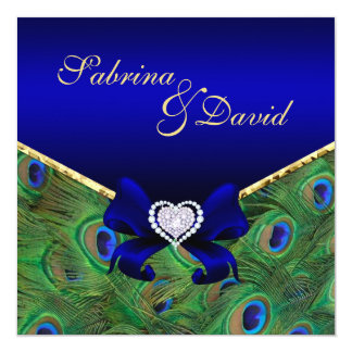Royal Blue Peacock Wedding Invitation