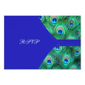 Royal Blue Peacock Wedding RSVP Card