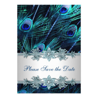 Royal Blue Peacock Wedding Save the Date Invites