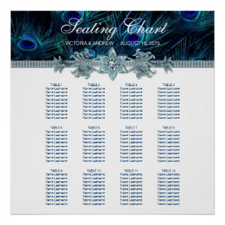 Royal Blue Peacock Wedding Seating Chart Poster
