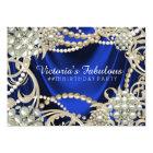 Royal Blue Pearl Glam Birthday Party Card