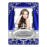 Royal Blue Pearl Silk Vintage Glamour Quinceanera 13 Cm X 18 Cm Invitation Card