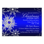 Royal Blue Pearl Snowflake Christmas Dinner Party 13 Cm X 18 Cm Invitation Card