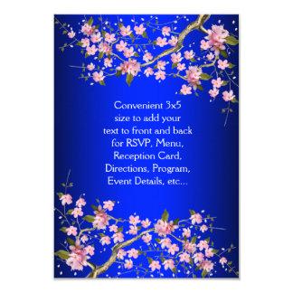 Royal Blue Pink Japanese Cherry Blossoms RSVP 9 Cm X 13 Cm Invitation Card
