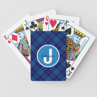 Royal Blue Plaid Monogram Bicycle Playing Cards