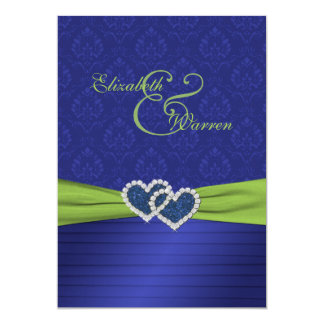 Royal Blue Pleats and Chartreuse Invitation