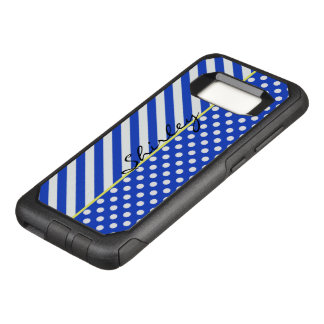Royal Blue Polka Dots and Stripes by ShirleyTaylor OtterBox Commuter Samsung Galaxy S8 Case