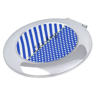 Royal Blue Polka Dots and Stripes by ShirleyTaylor Vanity Mirror