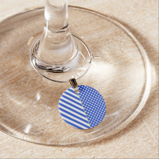 Royal Blue Polka Dots and Stripes by ShirleyTaylor Wine Charm