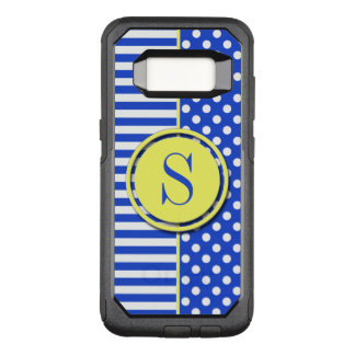Royal Blue Polka Dots and Stripes-Monogram STaylor OtterBox Commuter Samsung Galaxy S8 Case