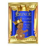 Royal Blue Prince Baby Shower Gold Ethnic 13 Cm X 18 Cm Invitation Card