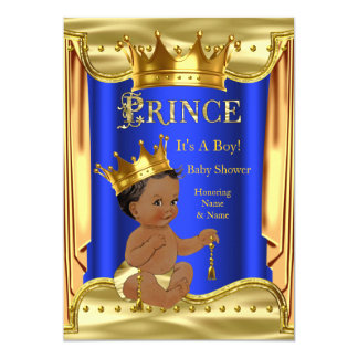 Royal Blue Prince Baby Shower Gold Ethnic 13 Cm X 18 Cm Invitation Card