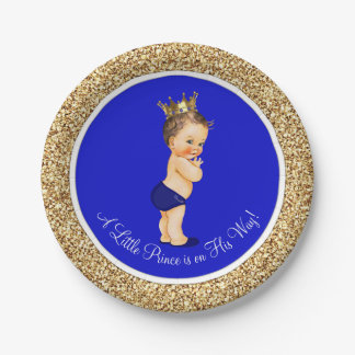 Royal Blue Prince Baby Shower Paper Plate