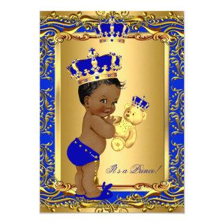 Royal Blue Prince Crown Baby Shower Bear Ethnic Card