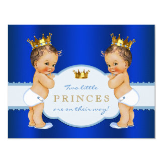 Royal Blue Prince Twin Boy Baby Shower Card