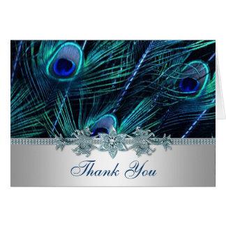 Royal Blue Purple Peacock Feathers Wedding Card
