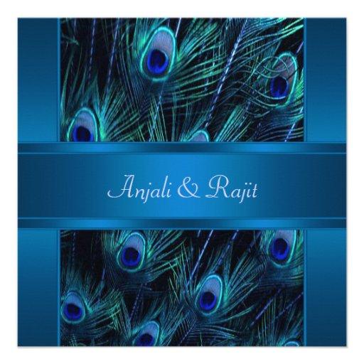 Royal Blue Purple Peacock Feathers Wedding Custom Announcement
