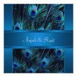 Royal Blue Purple Peacock Feathers Wedding Personalised Invitation