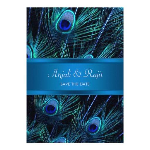 Royal Blue Purple Peacock Feathers Wedding Custom Invite