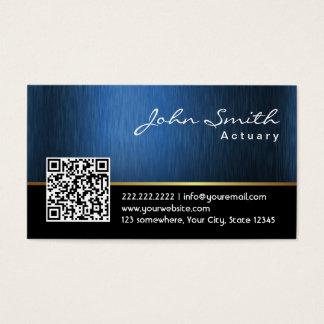 Royal Blue QR code Actuary Business Card